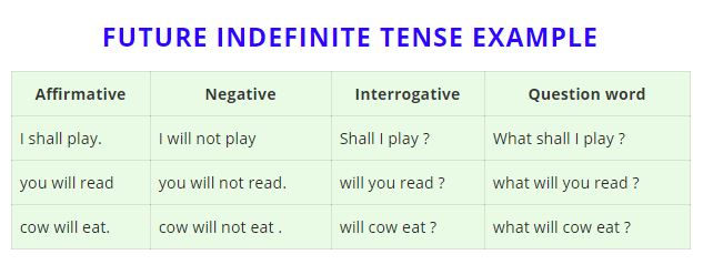 future indefinite tense example