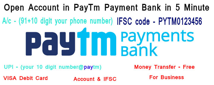 how to open account in paytm payment bank